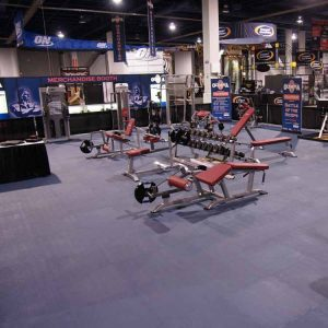 Your new basement gym can look like this with the help of rubber tiles.