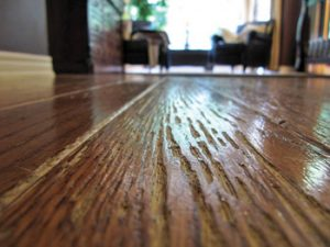 A clear example of chipped wooden floors that have seen better days.