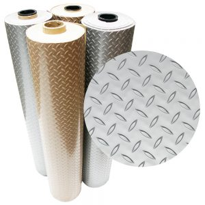 "An example of the ""Diamond-Plate Metallic"" PVC rolls"