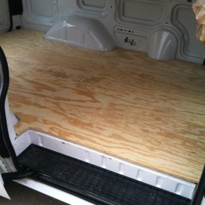 An example of an uncovered van floor